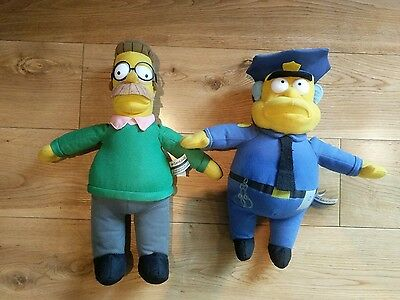 The Simpsons Ned Flanders & Chief Wiggum Plush Soft Toys Official 2006 Free P&P