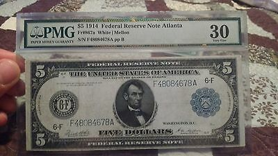 Fr. 867a $5 1914 Federal Reserve Note PMG 30. Finest note on ebay