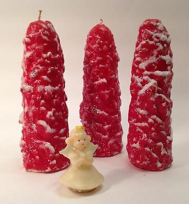 """Vtg Lot 3 Large 8"""" Christmas Trees Glitter Snow Novelty Candles Gurley? Unused"""