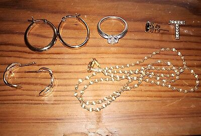 9ct yellow gold on sterling silver jewellery job lot