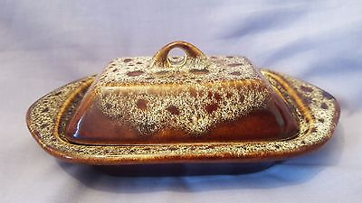Vintage Fosters Pottery Treacle Brown Honeycomb Butter Dish&  Lid 60's Cornwall