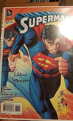 superman 32 midtown signed by romita jr and klaus janson!!