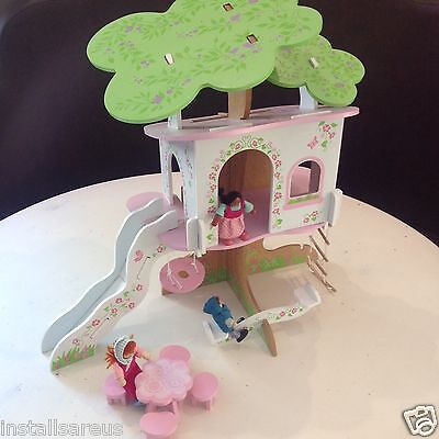 ELC wooded Rosebud  dolls TREE house & furniture Early Learning Centre