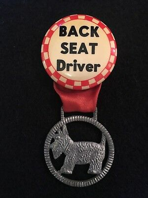 Charming Vintage 'Back Seat Driver' Scottie Yorkie Westie Dog Button Pin Back