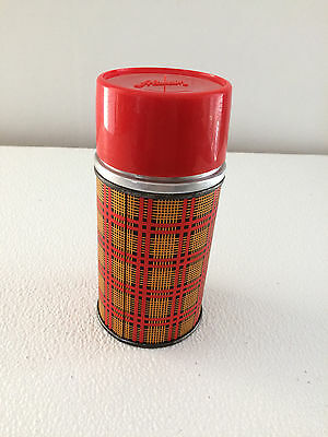 Vintage Red Plaid Aladdin Thermos Wide Mouth Pint