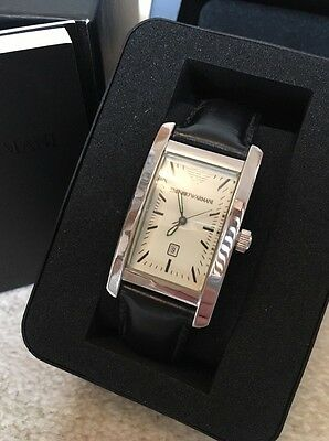 Emporio Armani Mens Watch Silver Dial Black Leather Strap. USED