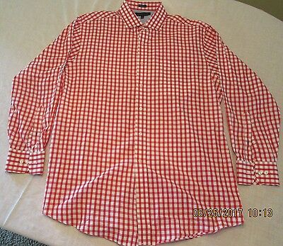 Tommy Hilfiger Mens Red Dress Shirt Long Sleeve 15 1/2 32-33 -  New W/o Tags