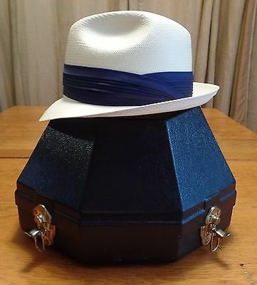 #2341-3.5 Vintage Shantung Woven Show Horse Tack Beaver Hat with Travel Case