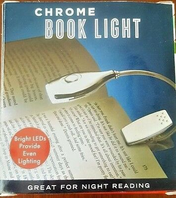BRIGHT Night time Book Reading . Light LED Flexible Neck . Clip On Travel ; New