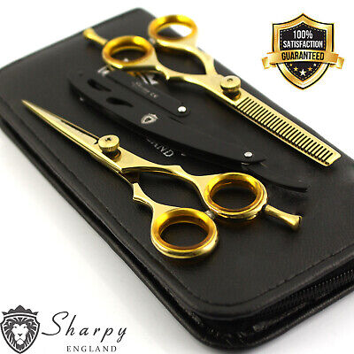 New Professional Barber Hairdressing Scissors 5.5 Gold Set With Free Razor