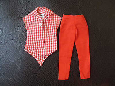 Checkered Red Shirt & Pants BARBIE DOLL CLOTHES VINTAGE 1960'S   Item #17  Used