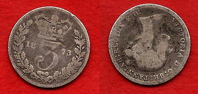 GREAT BRITAIN UK : 3 Pence 1873 Queen Victoria Inverted Head Nice Silver Coin