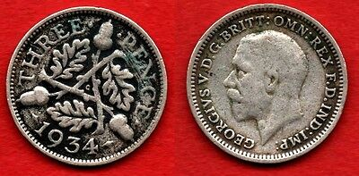 GREAT BRITAIN UK : 3 Pence 1934 King George V Nice Silver Coin Argent