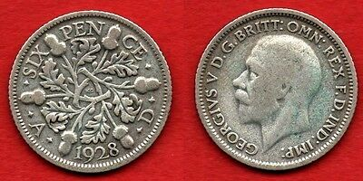 GREAT BRITAIN UK : 6 Pence 1928 King George V Nice Quality Coin Silver Argent