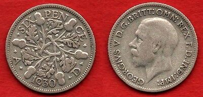 GREAT BRITAIN UK : 6 Pence 1930 King George V Nice Quality Coin Silver Argent