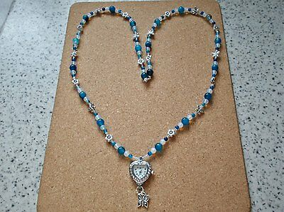 Blue & opaline beaded pendant watch with charms