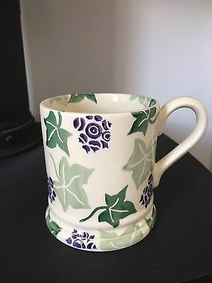 Emma Bridgewater Ivy Leaves and Flower Green Purple Rare Half Pint Mug 2000