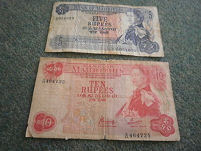 Mauritius 5 & 10 Rupees Banknote (1967)