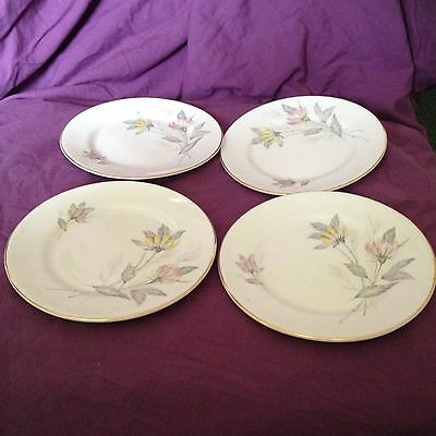 4 x Queen Anne Bone China Side Plates Floral Pink Yellow Grey Pretty Vintage
