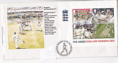 2005 Ashes cricket FDC first day cover Australia Hambledon handstamp