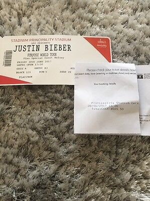 Two  Platinum Justin Bieber Purpose Tour Stadium Tickets Cardiff Cost £325.50