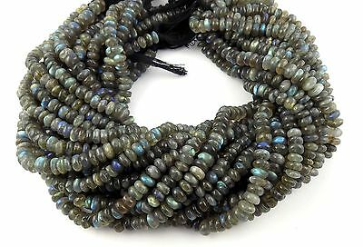 """5 Strands Natural Blue Fire Labradorite Rondelle 5-6mm 13.5"""" Long Smooth Beads"""