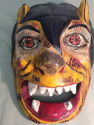 Vintage Mexican Person Cat  Festival Mask Painted wooden wall folk art old wood