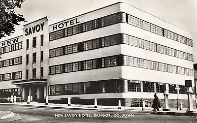 NEW SAVOY HOTEL BANGOR CO. DOWN IRELAND RP VALENTINES POSTCARD POSTED in 1963