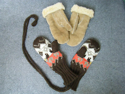 2 Pairs of Mittens, Adults, one lambs skin, one knitted