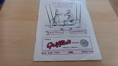 1955  Australia V Canterbury Rugby Union Programme