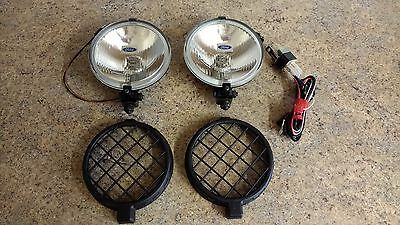 Genuine WORKING Ford Escort Fiesta Round Spot Fog Lights, Bulbs, Covers & Wiring
