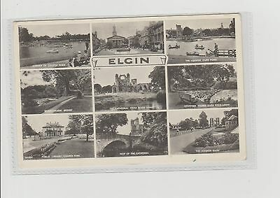 Elgin 9-View Multiview Real Photograph Postcard Unpoted c1950s J B White Dundee