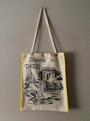 PARIS Print Vintage Draw String Cotton Canvas Tote Shopping Bag