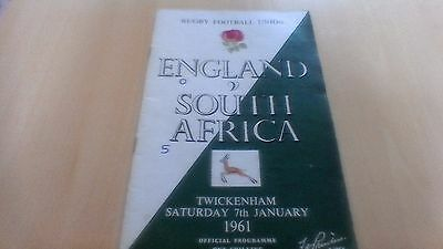 1961 England V South Africa Rugby Football Union Programme
