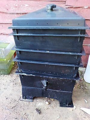 Black 4 tier worm bin with tap and stand