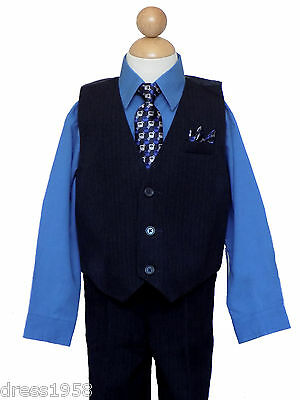 Boys Recital, Party Vest Suit Set w/Pinstripe, Royal Blue/Black,Sz: 2T