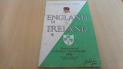 1954  England V  Ireland  Rugby Football Union Programme