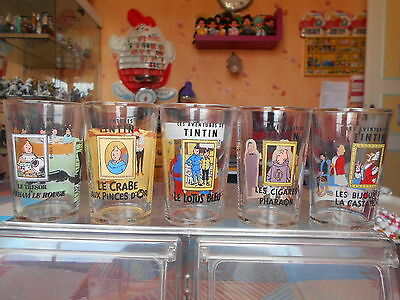 lot de 5 verres tintin 1994 tbe photo recto/verso