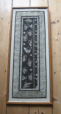 Antique/vintage Chinese Embroidery With Butterflies & Insects, Framed