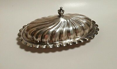 Vintage Sheridan Silver on Copper Butter Dish