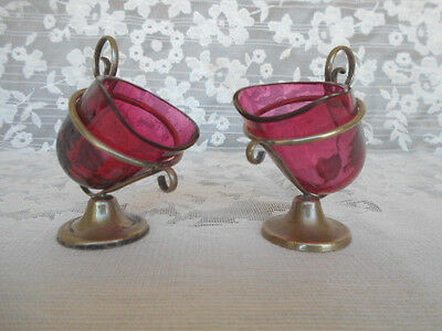 Pair Estate Victorian Cranberry Glass & Silver Pedestal Master Salt Dish Cellars