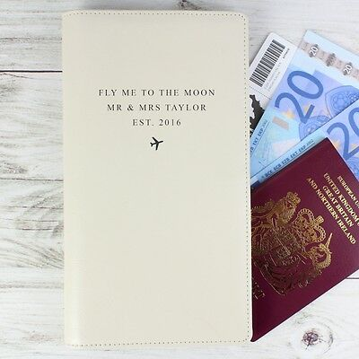 PERSONALISED Any Message LEATHER Travel Document Holder PASSPORT BOARDING CARD