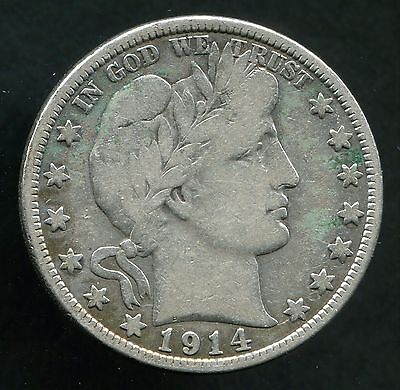 1914 50C Barber Half Dollar Better Date Coin