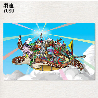 """Psychedelic Cartoon Flying Turtle Anime Art Silk Canvas Poster 21X13"""""""