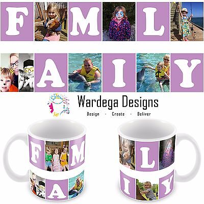 Personalised mug/Cup Family 6 Photo Collage Birthday Christmas Gift Present Tea