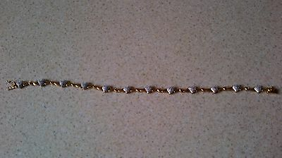 9ct Yellow Gold Diamond Heart Bracelet 7.5 ins - 7 gms