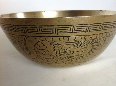 Vintage Chinese Brass Bowl With Dragon Decoration