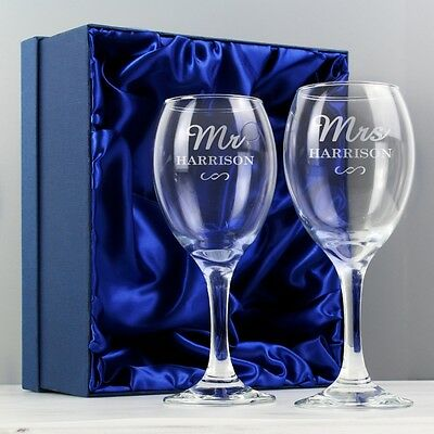 PERSONALISED Mr & Mrs Wine Glass Set Wedding Anniversary Couples Newlyweds Gift