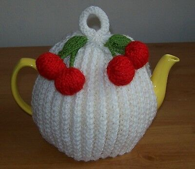 Hand knitted cherries tea cosy