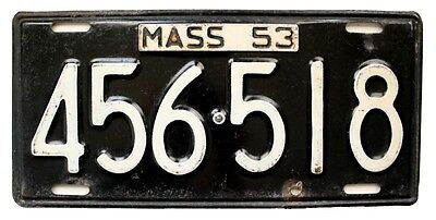 Massachusetts 1953 License Plate, Old New England, Antique, Garage Wall Sign